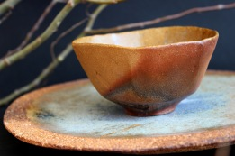 Wind tea bowl and plate, 2017