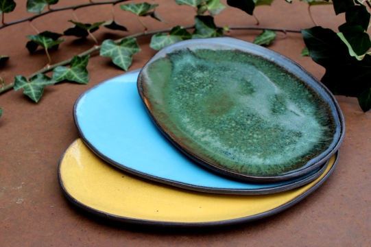Yellow, blue turquize and forest green plate