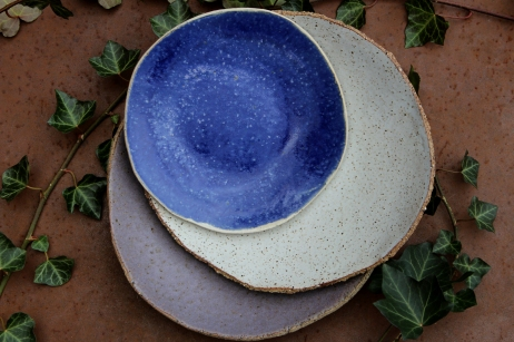 Lavender violet, spotty white and river blue plate